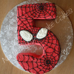 Spiderman Number 5 Cake - natural food colouring